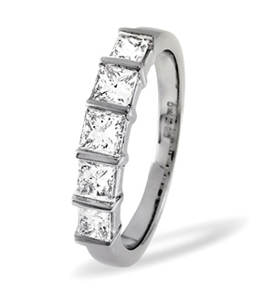 Lauren 18K White Gold 5 Stone Diamond Eternity Ring 0.50CT G/VS