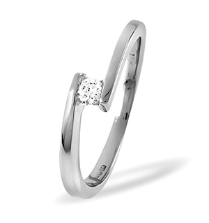 18K White Gold Diamond Ring 0.10ct H/si