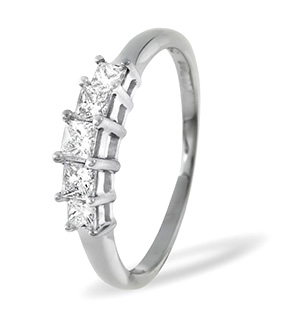Lucy 18K White Gold 5 Stone Princess Diamond Eternity Ring 0.75CT H/SI
