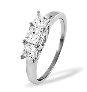 Lauren 18K White Gold 3 Stone Diamond Ring 0.50CT H/SI