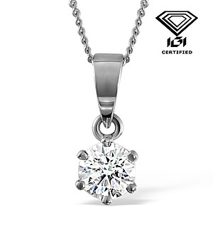 IGI Certified 1.00CT Chloe 18K White Gold Pendant G/VS1