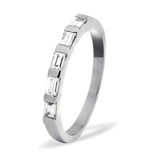 EMERALD CUT 18K White Gold Diamond ETERNITY RING 0.50CT G/VS