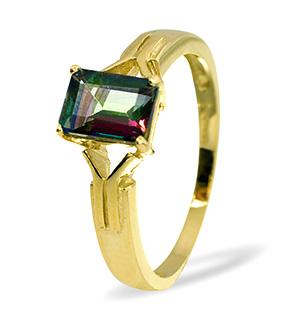 9K Gold DIAMOND MYSTIC TOPAZ RING