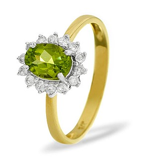 9K Gold DIAMOND PERIDOT RING 0.21CT