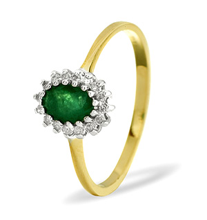 9KY DIAMOND EMERALD RING 0.08CT
