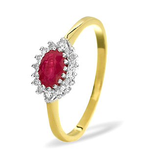 18K Gold Diamond and Ruby Ring 0.14ct