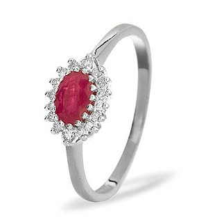 18K White Gold Diamond and Ruby Ring 0.14ct