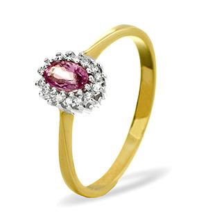 9K Gold DIAMOND PINK SAPPHIRE RING 0.05CT