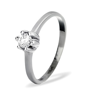 Solitaire Ring 0.25CT Diamond 9K White Gold