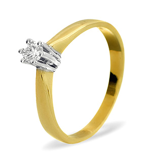 Solitaire Ring 0.15CT Diamond 9K Yellow Gold