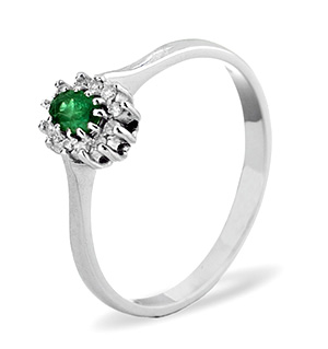 9K White Gold DIAMOND EMERALD RING 0.06CT