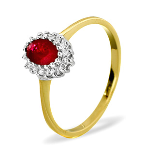 9K Gold DIAMOND RUBY RING 0.08CT