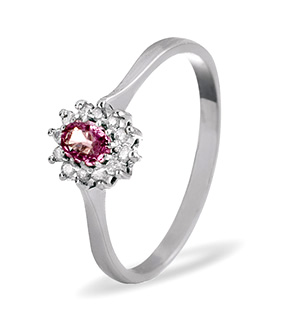 9K White Gold DIAMOND PINK SAPPHIRE RING 0.06CT