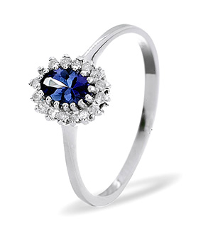 18K White Gold Diamond and Tanzanite Ring 0.05ct