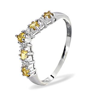 9KW DIAMOND YELLOW SAPPHIRE RING 0.01CT
