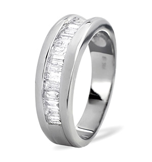 Mens Ring 1.00CT Diamond 9K White Gold