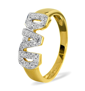 9K Gold DIAMOND DAD RING 0.10CT