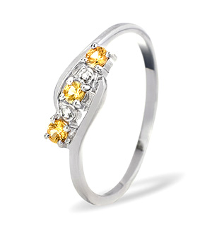 9K White Gold DIAMOND YELLOW SAPPHIRE RING 0.01CT