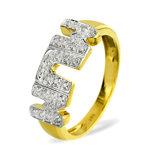 9K Gold DIAMOND MUM RING 0.10CT