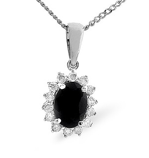 9K White Gold Diamond and Sapphire Pendant 0.21ct