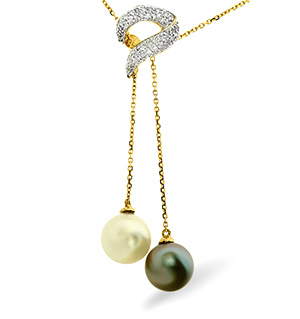 9K Gold Diamonds and Pearls Necklace 0.21CT