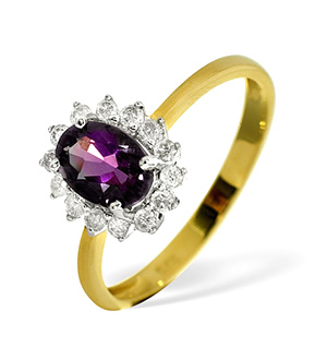 9K Gold DIAMOND AMETHYST RING 0.21CT