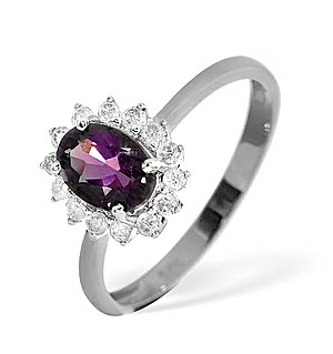 9K White Gold Diamond and Amethyst Ring 0.18ct