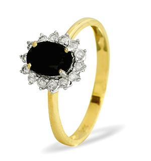 9K Gold DIAMOND SAPPHIRE RING 0.21CT