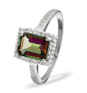 9K White Gold Diamond and Mystic Topaz ring 0.12ct