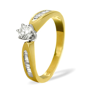 Diamond Solitaire with Shoulders 9K Gold Ring 0.40CT