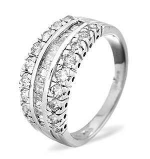 Half Eternity Ring 1.00CT Diamond 9K White Gold