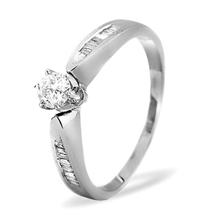 Diamond Solitaire with Shoulders 9K White Gold Ring 0.40CT
