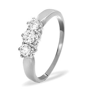 Trilogy Ring 0.50CT Diamond 9K White Gold