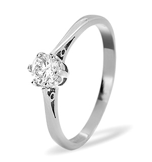 Solitaire Ring 0.35CT Diamond 9K White Gold