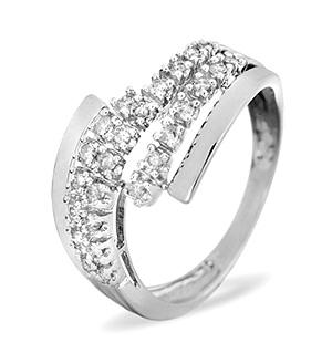 Cross-Over Ring 0.26CT Diamond 9K White Gold