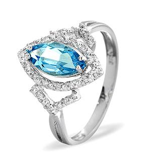 9K White Gold DIAMOND BLUE TOPAZ RING 0.14CT