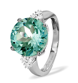 9K White Gold DIAMOND BLUE TOPAZ RING 0.11CT