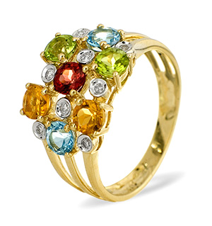 9K Gold DIAMOND MULTI RING 0.08CT