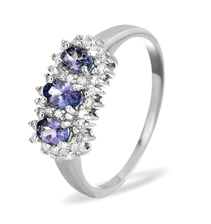 9K White Gold DIAMOND TANZANITE RING 0.23CT