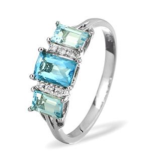 9K White Gold DIAMOND BLUE TOPAZ RING 0.04CT