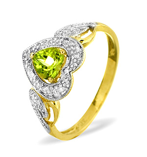 9K Gold DIAMOND PERIDOT RING 0.06CT