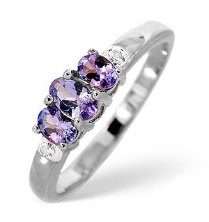 9K White Gold DIAMOND TANZANITE RING 0.01CT