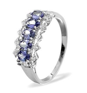 9K White Gold DIAMOND TANZANITE RING 0.03CT