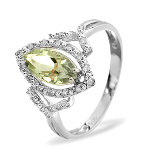 9K White Gold DIAMOND Peridot RING 0.14CT