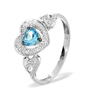 9K White Gold DIAMOND BLUE TOPAZ RING 0.06CT