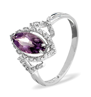 9K White Gold DIAMOND AMETHYST RING 0.14CT