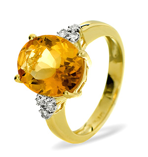 9KY DIAMOND GOLDEN CITRINE RING 0.11CT