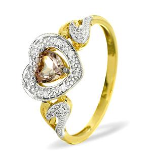 9K Gold DIAMOND AMETHYST RING 0.06CT