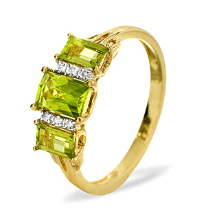9K Gold DIAMOND PERIDOT RING 0.04CT