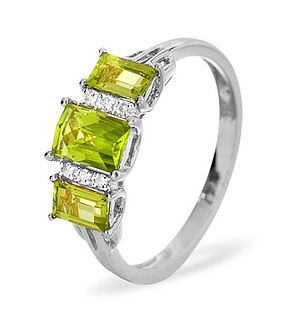 9K White Gold Diamond and Peridot Ring 0.04ct